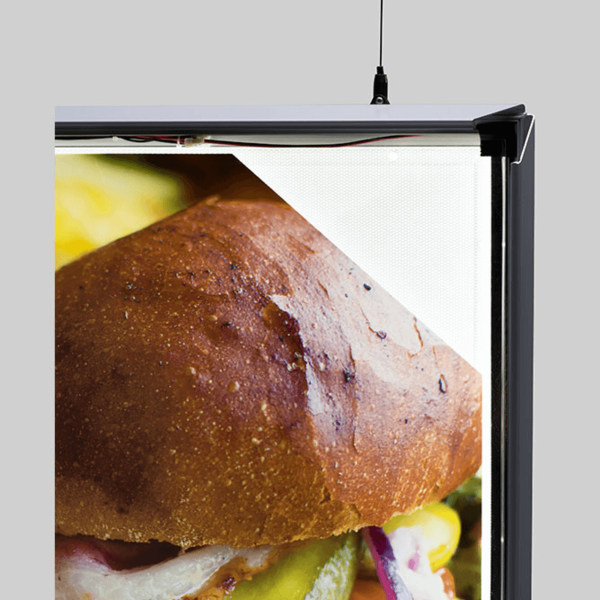 A HANGING DOUBLE SIDED LED SNAP FRAME