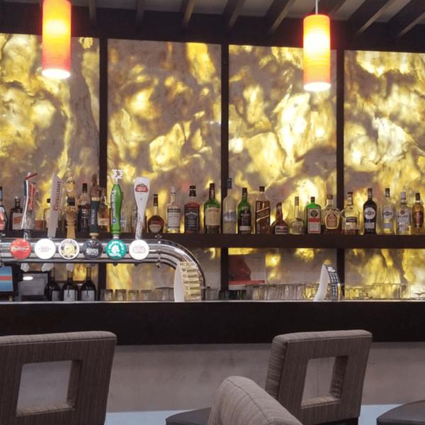 Backlit LED panel in bar